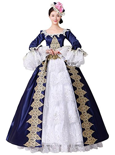 FENIKUSU Women's Gothic Victorian Fancy Dress Prom Palace Masquerade Ball Gown Costume (XXXL, Blue with 4hoops (Blue Masquerade Dress)