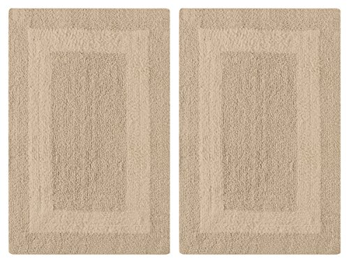 - Cotton Craft 2 Piece Reversible Step Out Bath Mat Rug Set 17x24 Linen, 100% Pure Cotton, Super Soft, Plush & Absorbent, Hand Tufted Heavy Weight Construction, Full Reversible, Rug Pad Recommended