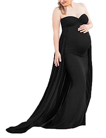 5f5414315e7 JustVH Maternity Chiffon Off Shoulder Fitted Gown Long Maternity Tube Dress  Maxi Photography Dress Black