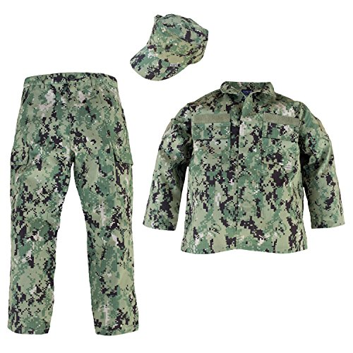 (Trendy Apparel Shop Kid's US Soldier Digital Camouflage Uniform 3pc Set Costume Cap, Jacket, Pants - NWU III -)
