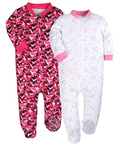YXD Baby Girls 2-Pack Snug Fit Footed Pajamas 100% Cotton Blanket Sleeper with Non-Slip Sole(6-9 Months, ()