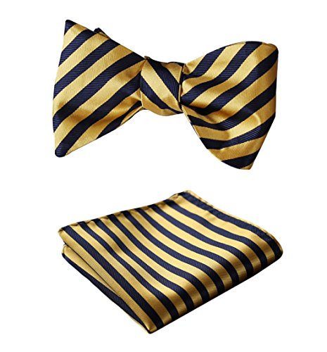 - SetSense Men's Stripe Jacquard Woven Self Bow Tie Set One Size Navy Blue / Yellow