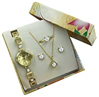Gold Watch & Jewelry Gift Set - Floating Crystal Necklace, Earrings & Ring Gift Women & Girls