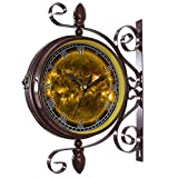 girlsight Wrought Iron Antique-Round Clock Wall Retro Station Chandelier Double Sided Wall Clock -360 Degree Quiet Grand Central Station Wall Clock571.Solar Flare, Sun, Eruption,