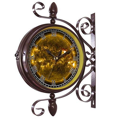 girlsight Wrought Iron Antique-Round Clock Wall Retro Station Chandelier Double Sided Wall Clock -360 Degree Quiet Grand Central Station Wall Clock571.Solar Flare, Sun, Eruption, by girlsight