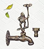 Decorative Solid Brass Standing Frog Holding a Lucky Flower – with a Brass Connecter (2, Antique Brass)