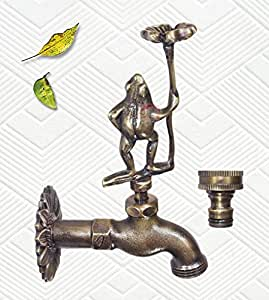 Decorative Solid Brass Standing Frog Holding a Lucky Flower – with a Brass Connecter (3, Antique Brass)
