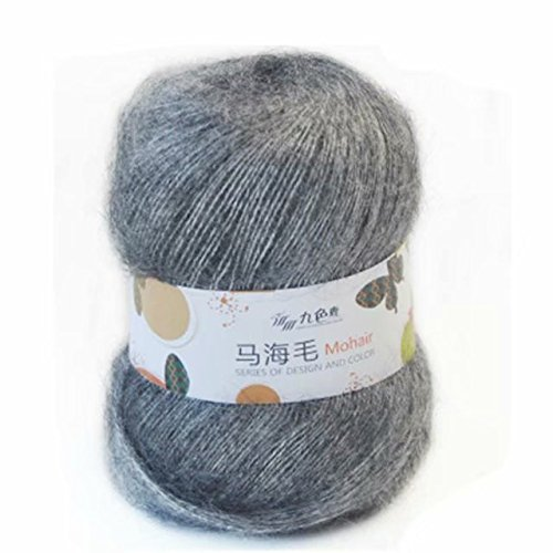 Celine lin One Skein Soft Natural Angola Mohair Wool Knitting Yarn 50g,Grey ()