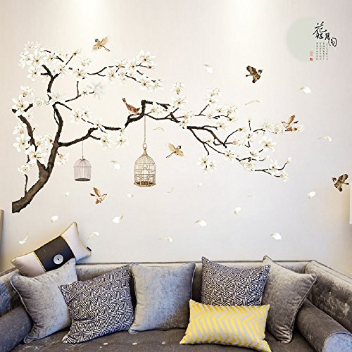 Amaonm Chinese Style White Flowers Black Tree and Flying Birds Wall Stickers Removable DIY Wall Art Decor Decals Murals… 5