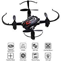 WonderTech RC Drone 2.4Ghz 6-Axis Gyro Mini Quadcopter for Beginners and Kids, One Key Return, Headless Mode, 360°Roll, 4 Channels, with LED Light, Black