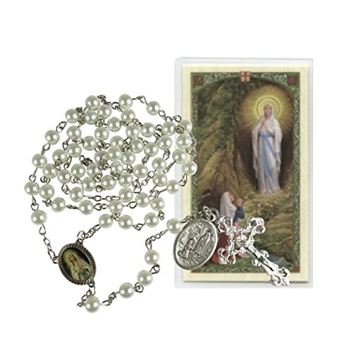 Our Lady of Lourdes Majorca Pearls Rosary with Silver Plated Findings and Blessed Saint Bernadette Medal