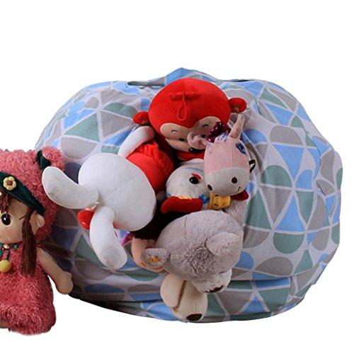Printing Soft Pouch - ManxiVoo Stuffed Animal Bean Bag Plush Kids Toy Storage Bean Bag Chair Soft Pouch Printing Fabric Chair Multicolor (B)