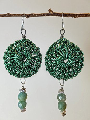 (Sea Green Leather Rosette Earrings on Titanium Hoop with Faceted Aquamarines, Keishi Pearls & Sterling Beads on Sterling Silver Earwires - 100% Handmade)