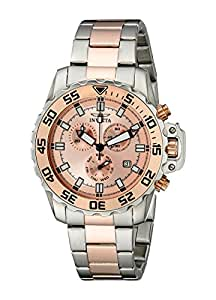 Invicta Men's 13627 Pro Diver Chronograph Rose Gold Tone Dial Two Tone Stainless Steel Watch