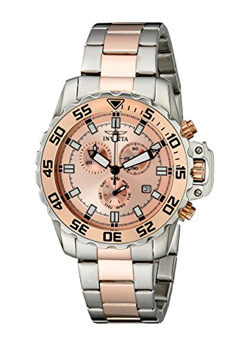 Invicta Men's 13627 Pro Diver Chronograph Rose Gold Tone Dial Two Tone Stainless Steel (Invicta Mens Rose)