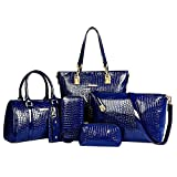 Women Handbag,Women Bag, Shoulder Bag Purse Wallet KINGH 6 Piece Tote Vintage Style PU Leather 020 Blue