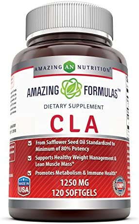 Amazing Formulas CLA 1250 Mg Supplement – Supports Healthy Weight Management – Promotes Lean Mass Muscles – Promotes Metabolism Immune Health 120 Softgels Non-GMO,Gluten Free
