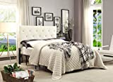 AC Pacific Contemporary Crystal Diamond Tufted Headboard, Queen, White