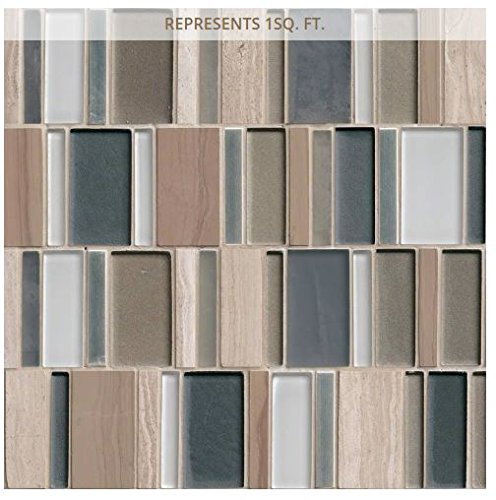 M S International Paradise Bay 12 In. X 12 In. X 8mm Glass Stone Metal Mesh-Mounted Mosaic Tile, (10 sq. ft., 10 pieces per case)