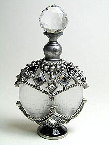 Alice-Aliya Antique refillable perfume bottle embossed decoration with rhinstone screw cap and rod.