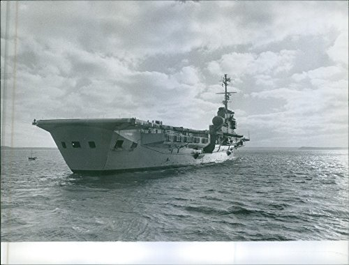 Vintage photo of A naval ship sailing on the sea, during war, France, 1955.