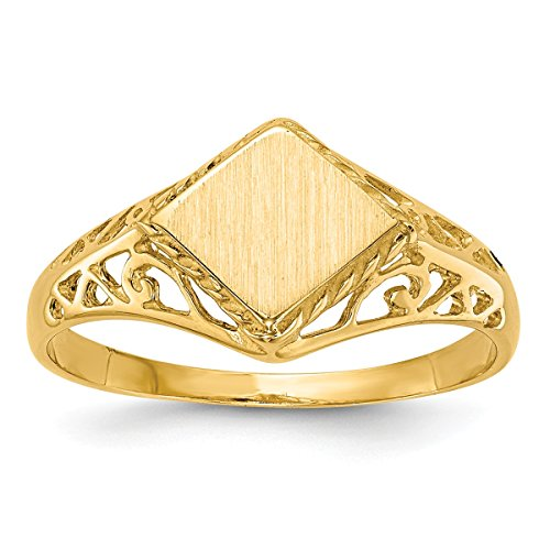 Ladies Signet Initial Ring - Roy Rose Jewelry Open Back Signet Ring Square Shape Filigree Sides Custom Personailzed with Free Engraving Available of Initials ~ Size 4 in Solid 14K Yellow Gold