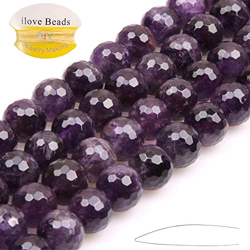 ILVBD Natural Faceted Amethyst Stone Beads 4/6/8/10/12MM Loose Beads for Jewelry Making One Strand 15