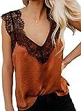 BLENCOT Women's Summer Sleeveless Shirts V Neck Lace Strappy Trim Camisole Tank Tops Loose Blouse Orange X-Large