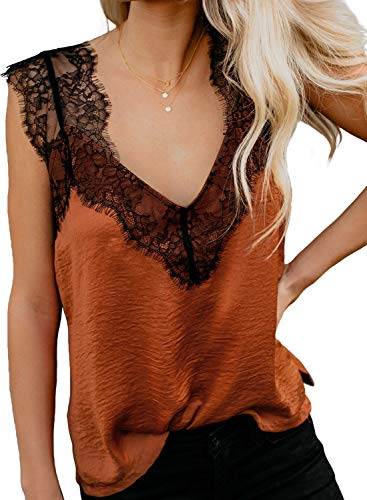 BLENCOT Women's Summer Sleeveless Shirts V Neck Lace Strappy Trim Camisole Tank Tops Loose Blouse Orange Small