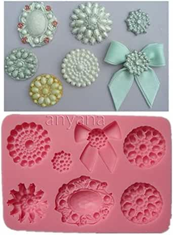 Anyana Novelty 3d Brooch cake Jewelry Bowknot gemstone Cupcake Decorating Mold Silicone chocolate Mould Fondant cookie baking tools 316a