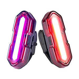 2 Pack Super Bright USB Bicycle Tail Lights, Cycloving 5 Modes Dual Colors Display IPX4 Water Resistant Rear Lights for Cycling Safety