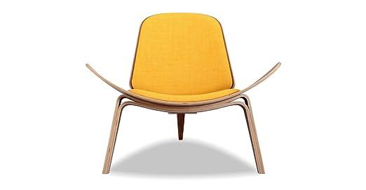 Amazon Kardiel Tripod Plywood Modern Lounge Chair, Citrine  Twill/Walnut Kitchen & Dining