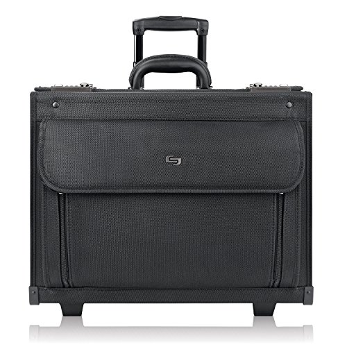 Solo New York Classic Rolling Padded Compartment That fits up to 17.3 inch Laptop, Equipped with Dual Combination Locks and Two Wheeled Hard Sided Catalog Case, Black (Laptop Catalog Case)