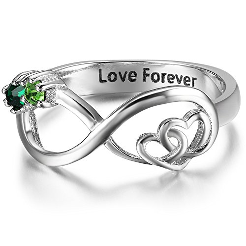 Luolajewelry Infinity Double Heart Promise Rings Personalized 2 Simulated Birthstones Engraved Names Rings for Women (8)