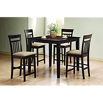 coaster 5pc cappuccino finish counter height dining table and 4 barstools set - Height Of Dining Room Table