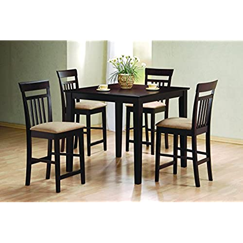 Coaster Home Furnishings 5 Piece Modern Transitional Square Counter Height Dining Set - Cappuccino  sc 1 st  Amazon.com & High Dining Table Set: Amazon.com