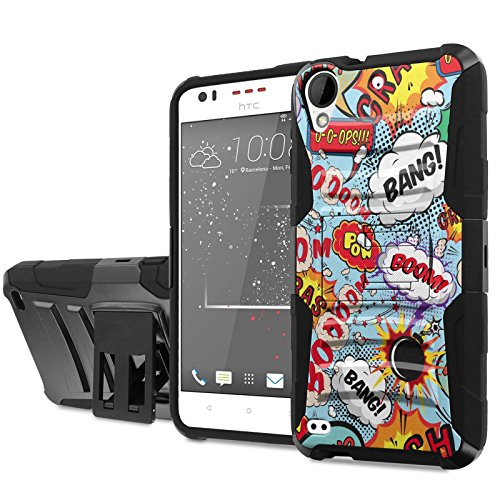 [Cricket] HTC Desire 550/555 Phone Case [NakedShield] [Black/Black] Heavy Duty Armor [Holster with Kickstand] - [Comic Speech] for [Cricket] HTC Desire 550/555