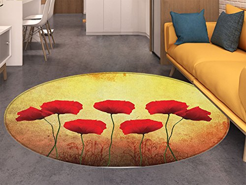 Poppy Round Area Rug Poppies on Old Aged Retro Featured Backdrop Design Past Days Drama Petals Indoor/Outdoor Round Area Rug Scarlet Pale Yellow