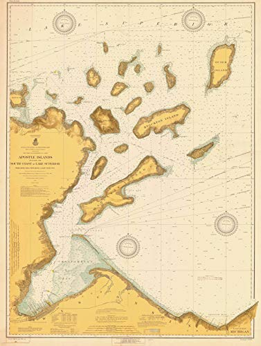 Map - Apostle Islands Including The South Coast Of Lake Superior, 1918 Nautical NOAA Chart - Wisconsin (WI) - Vintage Wall Art - 18in x 24in (Depth Chart Superior Lake)