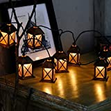 4.9ft 10 Bulb Vintage Bronze Metal House Shaped Lantern String Light for Indoor/Outdoor Christmas Wedding Party Home Room Garden Patio Holiday Decorations Plug-in Connectable Expandable to 50 Lights