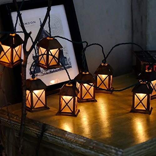 1.5m/4.9ft 10 Led Christmas Lights Lantern Fairy String Light Warm White Retro Vintage Bronze Metal House Shaped Lantern for Wedding Party Home Room Decorations Outdoor Plug-in Lighting 110V