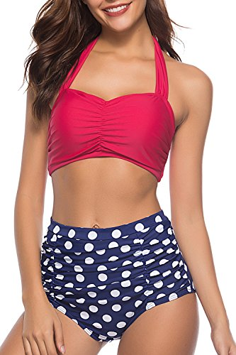 CHERRY CAT Vinatge Retro Polka High Waisted Swimsuits Beachwear (Rose Red,L)
