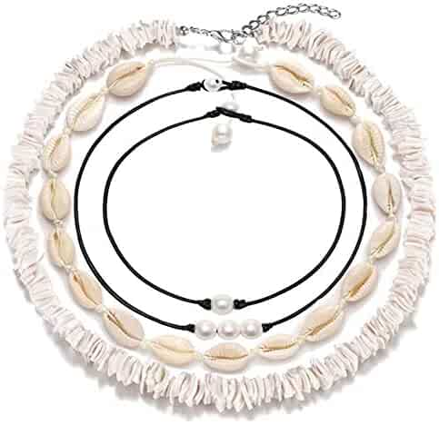 ATIMIGO Natural Puka Shell Choker Necklace for Women Girls,Handmade Adjustable Sea Shell Clam Chips Pearl Hawaii Beach Necklace Jewelry for Men