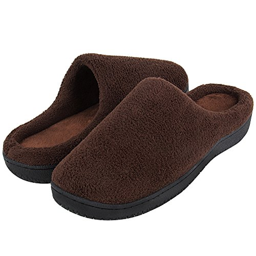 Mens Memory Foam Slippers with Arch Support and Rubber Sole Indoor
