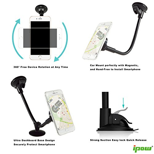 Update-VersionIpow-Magnetic-Cradle-less-Windshield-Long-Arm-Car-Mount-Holder-Cradle-with-Ultra-Dashboard-Base-for-iPhone-76s5s-Samsung-S7S6S5S4-edge-7-Nexus-54-LG-G3-HTC-and-GPS