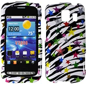 Black White Colorful Star Hard Cover Case for LG Vortex VS660