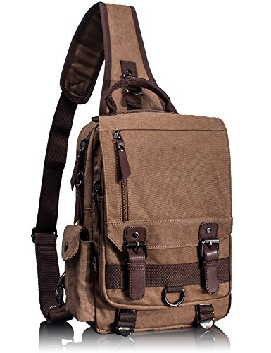(Leaper Canvas Messenger Bag Sling Bag Cross Body Bag Shoulder Bag Coffee, L)