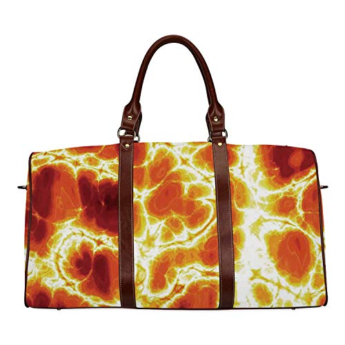 Burnt Orange Personal Travel Bag,Hot Burning Lava Texture Bursting Fire Flames Volcanic Heated Magma Image for Market,18.62