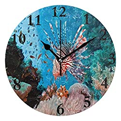 Dozili Lionfish are Destroying Our Coral Reefs Round Wall Clock Arabic Numerals Design Non Ticking Wall Clock Large for Bedrooms,Living Room,Bathroom