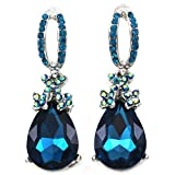Teal Blue Teardrop Earrings Stud Post Style Fashion Jewelry for Prom Wedding Bridal Shower Bridesmaid